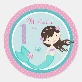 Brunette 1 del pegatina de little mermaid