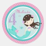 Brunette 4 del pegatina de little mermaid