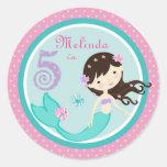 Brunette 5 del pegatina de little mermaid