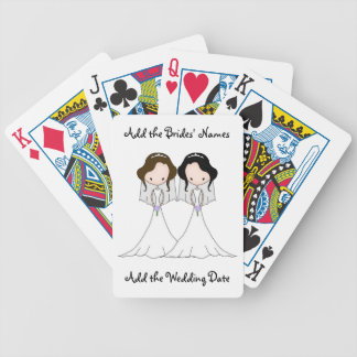 Brunette and Black Haired Brides Lesbian Wedding Bicycle Playing Cards
