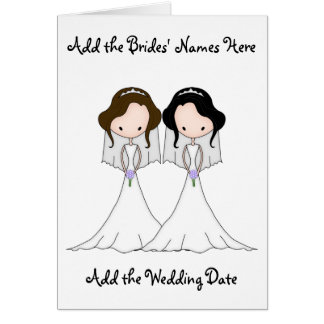 Brunette and Black Haired Brides Lesbian Wedding Greeting Card