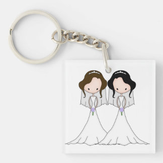Brunette and Black Haired Brides Lesbian Wedding Keychain