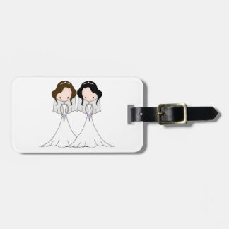 Brunette and Black Haired Brides Lesbian Wedding Tags For Luggage