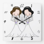 Brunette and Black Haired Brides Lesbian Wedding Square Wall Clocks