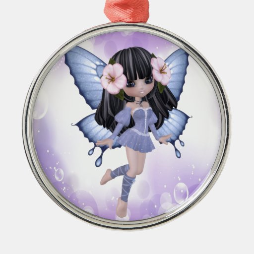 Brunette and Purple Fairy Metal Ornament