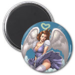 Brunette Angel Pinup with Heart Halo by Al Rio 2 Inch Round Magnet