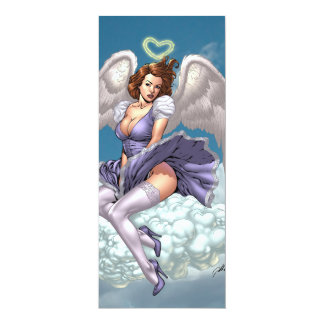 Brunette Angel Pinup with Heart Halo by Al Rio 4x9.25 Paper Invitation Card