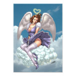 Brunette Angel Pinup with Heart Halo by Al Rio 5x7 Paper Invitation Card