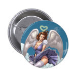 Brunette Angel Pinup with Heart Halo by Al Rio Pinback Buttons