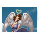 Brunette Angel Pinup with Heart Halo by Al Rio Card