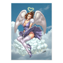 brunette,angel,angels,wings,halo,heart,purple,dress,cloud,al rio,art,comics, Invitation with custom graphic design