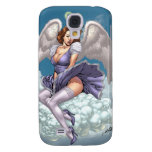 Brunette Angel Pinup with Heart Halo by Al Rio Galaxy S4 Cases