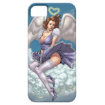 Brunette Angel Pinup with Heart Halo by Al Rio iPhone 5 Cases