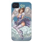 Brunette Angel Pinup with Heart Halo by Al Rio Case-Mate iPhone 4 Case