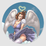 Brunette Angel Pinup with Heart Halo by Al Rio Classic Round Sticker