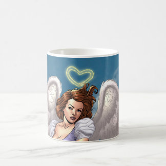 Brunette Angel Pinup with Heart Halo by Al Rio Coffee Mug