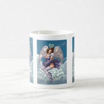 brunette,angel,angels,wings,halo,heart,purple,dress,cloud,al rio,art,comics, Mug with custom graphic design