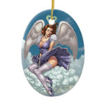 Brunette Angel Pinup with Heart Halo by Al Rio Double-Sided Oval Ceramic Christmas Ornament