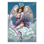 Brunette Angel Pinup with Heart Halo by Al Rio Greeting Card