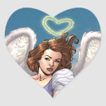 Brunette Angel Pinup with Heart Halo by Al Rio Heart Sticker