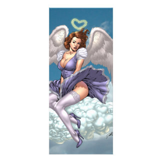 Brunette Angel Pinup with Heart Halo by Al Rio Invitations