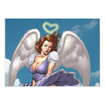 Brunette Angel Pinup with Heart Halo by Al Rio Invites