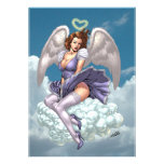 Brunette Angel Pinup with Heart Halo by Al Rio Announcements