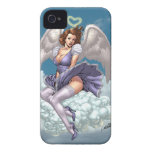 Brunette Angel Pinup with Heart Halo by Al Rio iPhone 4 Case-Mate Cases