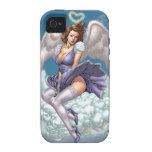 Brunette Angel Pinup with Heart Halo by Al Rio iPhone 4 Cases