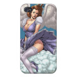 Brunette Angel Pinup with Heart Halo by Al Rio iPhone 4 Cover