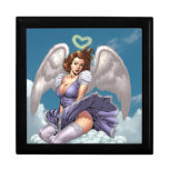 Brunette Angel Pinup with Heart Halo by Al Rio Keepsake Box