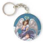 Brunette Angel Pinup with Heart Halo by Al Rio Basic Round Button Keychain