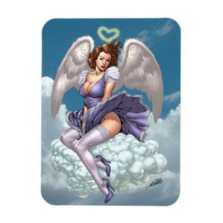 Brunette Angel Pinup with Heart Halo by Al Rio Magnet