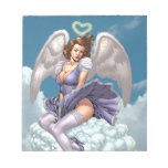 Brunette Angel Pinup with Heart Halo by Al Rio Memo Note Pads