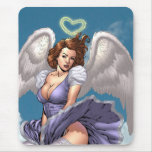 Brunette Angel Pinup with Heart Halo by Al Rio Mouse Pad