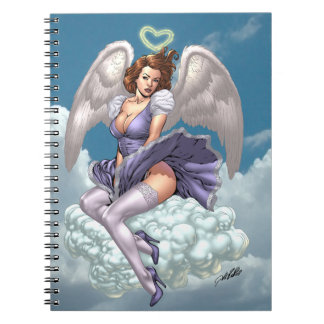 Brunette Angel Pinup with Heart Halo by Al Rio Notebook