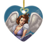 Brunette Angel Pinup with Heart Halo by Al Rio Double-Sided Heart Ceramic Christmas Ornament