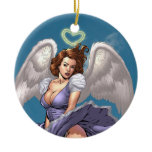 Brunette Angel Pinup with Heart Halo by Al Rio Double-Sided Ceramic Round Christmas Ornament