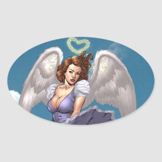 Brunette Angel Pinup with Heart Halo by Al Rio Oval Sticker