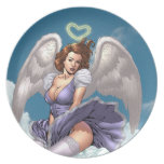 Brunette Angel Pinup with Heart Halo by Al Rio Party Plate