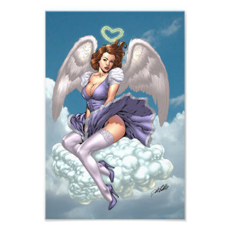 Brunette Angel Pinup with Heart Halo by Al Rio Photo Print