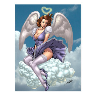 Brunette Angel Pinup with Heart Halo by Al Rio Postcard