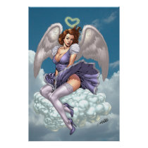 brunette,angel,angels,wings,halo,heart,purple,dress,cloud,al rio,art,comics, Cartaz/impressão com design gráfico personalizado