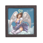 Brunette Angel Pinup with Heart Halo by Al Rio Premium Trinket Boxes