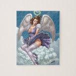 Brunette Angel Pinup with Heart Halo by Al Rio Puzzles