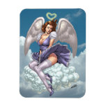 Brunette Angel Pinup with Heart Halo by Al Rio Rectangular Photo Magnet