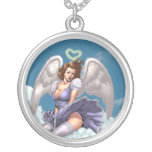 Brunette Angel Pinup with Heart Halo by Al Rio Round Pendant Necklace