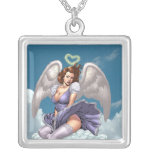 Brunette Angel Pinup with Heart Halo by Al Rio Square Pendant Necklace