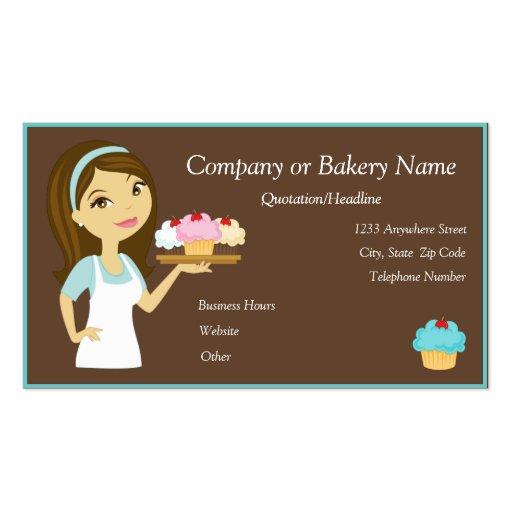 Brunette/Aqua Cupcake Baker/Bakery Business Card