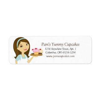 Brunette/Aqua Cupcake Baker Return Address Labels